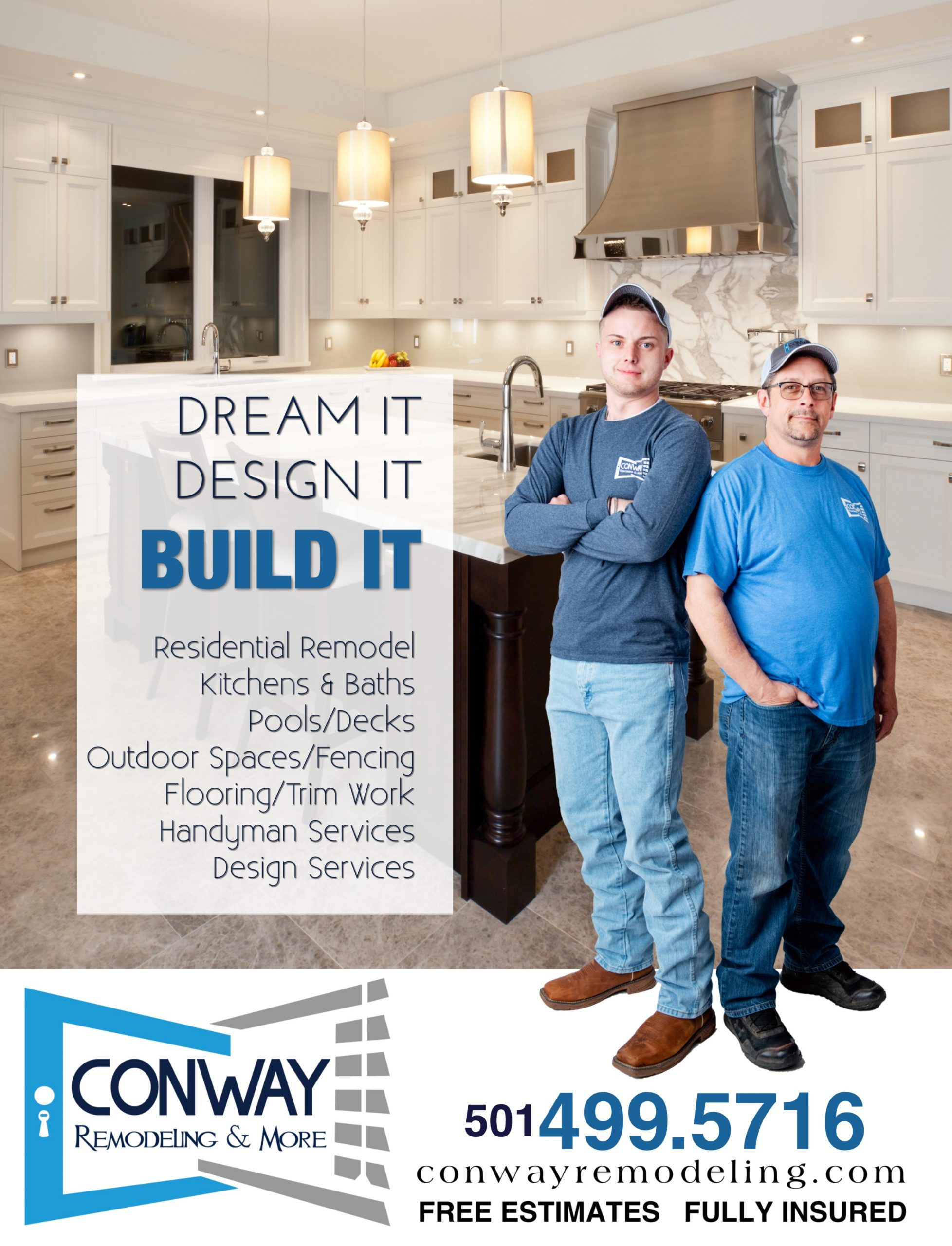 Johnny Miller and a worker standing in front of a kitchen with conpany logo and phone number to call for services.