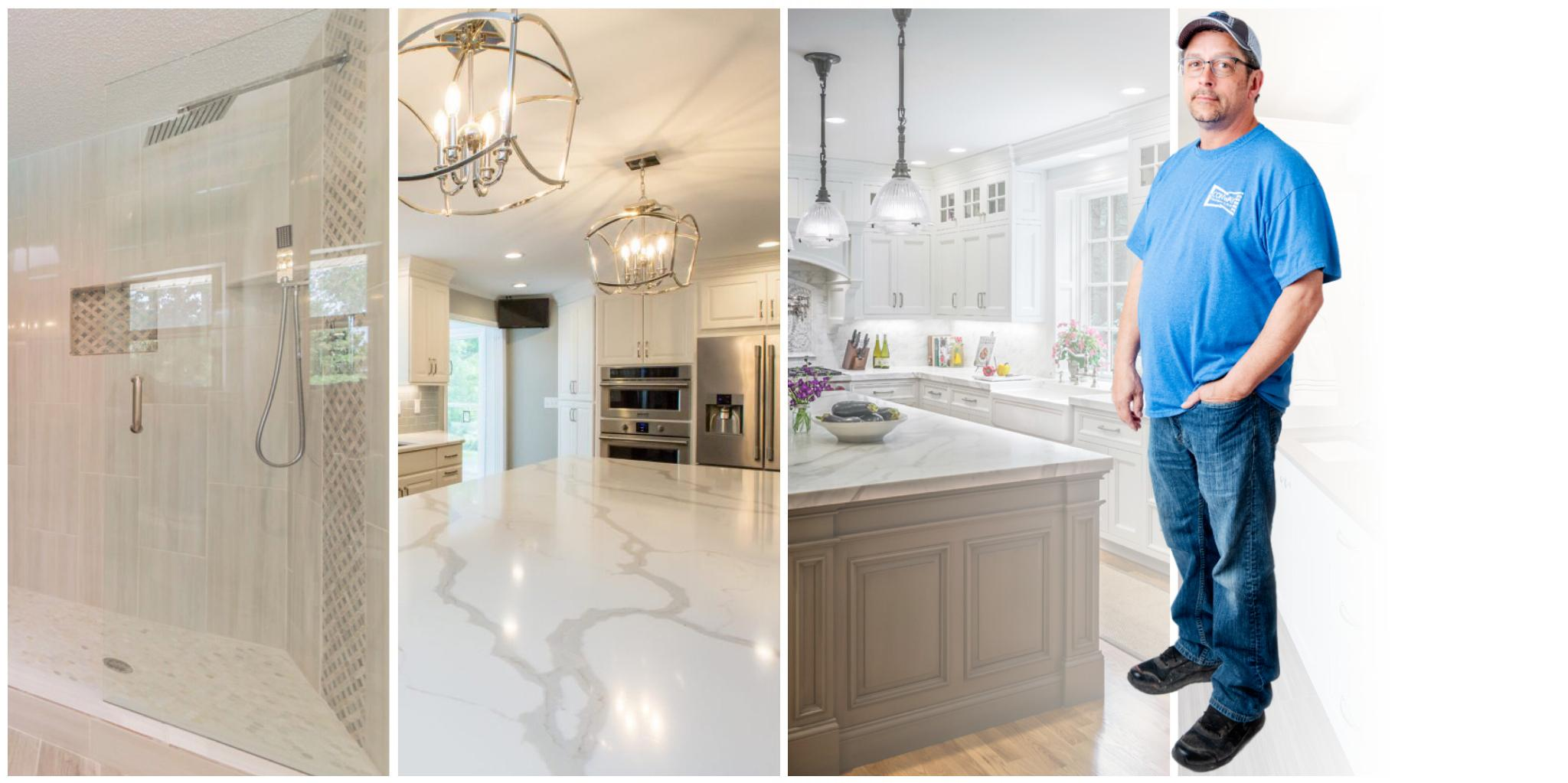 Owner Johnny Miller standing with three images. One is a bathroom, another is a living room, and the other is a kitchen.